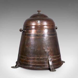 Antique Beehive Fireside Store, Copper, Fire Bucket, Coal Bin, Victorian, C.1850