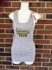 NWT Ladies Large Arkansas Tech Athletic Tank Top Grey Green Ribbed Cotton Soffe