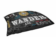 Manual Woodworkers & Weavers Fleece Top Lg Breed Pet Bed,Chalkboard-Wander,Black