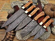 Custom Hand Made Damascus Steel Chef Knife Set WIth Olive Wood Handle.