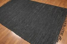 "5'9"" x 9'4"" Hand Woven Modern Industrial Chic Boho 100% Leather Area Rug"