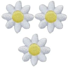White Daisy Flower Applique Patch (3-Pack, Mini, Iron on)