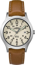 """Timex TW4B11000, Mid-Size """"Expedition"""" Brown Leather Watch, Scout, Date, Indiglo"""