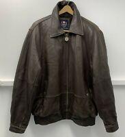 Phat Farm Brown Leather Mens Jacket Lined Black Faux Fur Size L Coat Heavy wt