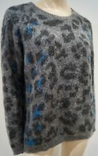 CLAUDIE PIERLOT Gris Anthracite Bleu mohair mélangé Léopard Motif Pull Sweater 3