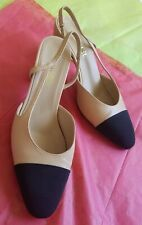 CHANEL 37 6.5 Two-Tone Cap Toe Beige Black  Pumps Leather Slingback Pump Shoes