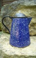 Antique Cobalt Blue & White Graniteware Enamelware Coffee Pot with Tin Lid