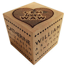 Personalised Wedding Anniversary Engagement Record Solid Wood Block Gift Present