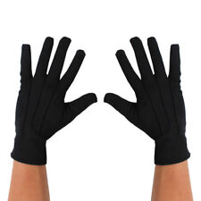 ADULTS SHORT BLACK GLOVES UNISEX MENS LADIES MAGICIAN ACCESSORY FANCY DRESS