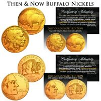 THEN & NOW Buffalo Nickel 24K Gold Plated 2-Coin Set - 1930s & 2005 Nickels BOGO