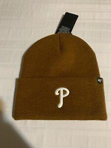 Philadelphia Phillies MLB '47 Carhartt Mens Brown Cuff Knit Beanie Hat New