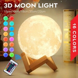 3D Moon Lamp Moonlight USB LED Night Lunar Light Touch 16 Color Changing Remote