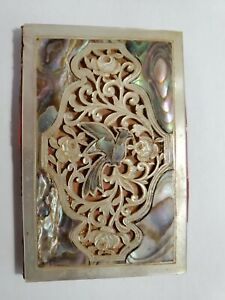 Outstanding Antique Victoria Carved Mother Of Pearl Woman's Purse Notepad NO Res