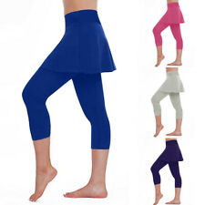 New Women's Casual Skirt Leggings Tennis Pants Sports Fitness Cropped Culottes
