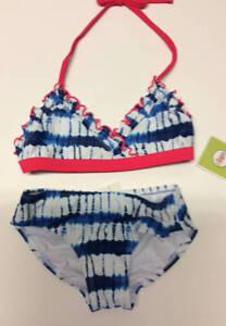 CIRCO Girls XS 4/5 Blue White Tie Dye 2 Pc Bikini Swimsuit Set