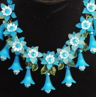 VTG STYLE FLORAL BIB STATEMENT NECKLACE Aqua Blue Crystals Hand Made USA