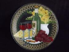 "Peggy Karr Wine & Cheese 11"" Plate Fused Glass Signed"