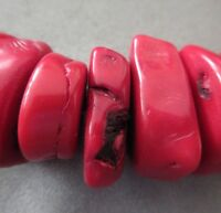 Bamboo Red Coral Bone Shapes Beads 3pcs