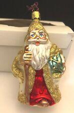Merck Family Old World Christmas Ornament Santa Claus White Robe Gold Snowflakes