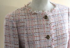 CHANEL -Sz 40 04P Pink-White Tweed Fringed Logo Classic Iconic Jacket Blazer