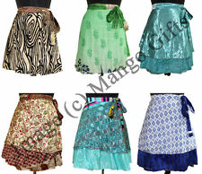Indian Silk Sari Magic Wrap Around Skirt Women Beach Sarong Wholesale Lot 50 Pcs