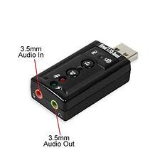 USB externe Soundkarte Adapter mit Virtual 7.1 3D Soundeffekt PC Computer Laptop