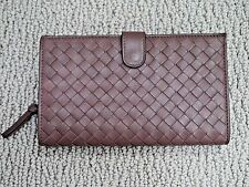 NEW BOTTEGA VENETA truffle brown woven intrecciato leather continental wallet