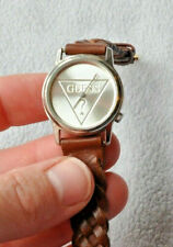 """Guess Brown Genuine Leather Braided Band Silver Strap Women's Watch 8"""""""