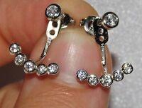 Sterling Silver (925) Fancy Design Front & Back Jacket Earrings - 2 in 1