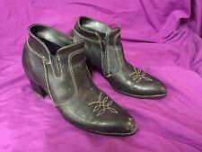 Men's Vintage Leather Zip Up, Ankle Height,  Heeled Cowboy, Western Style Boots
