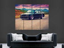 Negro Coche BMW E30 325i Deportivo Pared Arte Impresión Grande Gigante