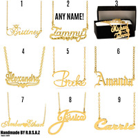Personalized 14K Gold Plated Any Name Plate Script Chain Necklace 9 Styles