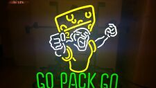 (L@K) Green Bay Packers Go Pack Go Cheese Head Fan Neon Light Up Bar Beer Sign