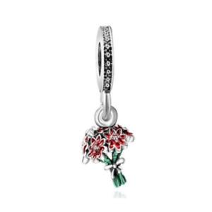 NEW Bunch Bouquet Of Red Flower Silver European Charm Bracelet Pendant Jewelry