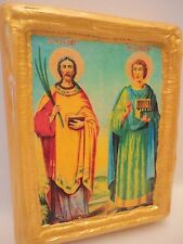 Saint Cosmas Saint Damian Christian Eastern Orthodox Icon One of A Kind