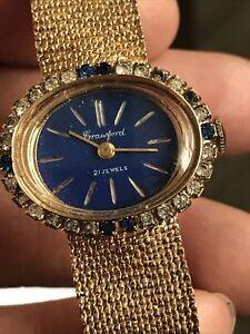 Vintage Crawford 21 Jewel Wind Up Ladies Gold Tone Wrist Watch Rhinestone Dial