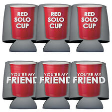Set of 6 Double sided Red Solo Cup Themed Koozies