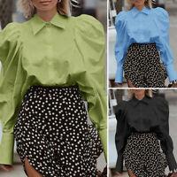 UK Women Retro Collar Lolita Blouse Top Victorian Gothic Ruffle BLACK Shirt 8-26