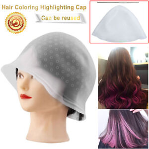 Reusable Silicone Dye Hat Cap + Hook for Hair Coloring Highlighting Hairdressing