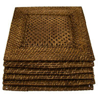 """6pk Bamboo & Rattan 14"""" Square Charger Plates By Malacca Elements Dinner Servers"""