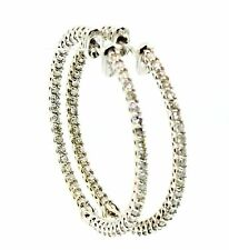 Diamond Hoop Earrings 2. t.c.w. 14k white Gold