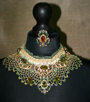 MICHAL NEGRIN SET NECKLACE RING LACE PERLS