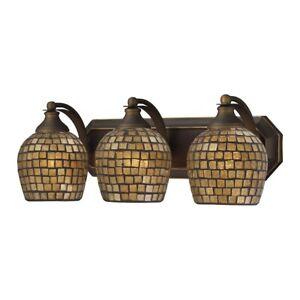 ELK Lighting Mix-N-Match Vanity 3-Light Wall, Aged Bronze/Gold Leaf - 570-3B-GLD