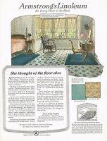 1920s BIG Vintage Armstrong's Linoleum Flooring Period Interior Art Print Ad