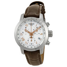 Tissot PRC200 Chronograph Silver Dial Brown Leather Ladies Watch T0552171603302