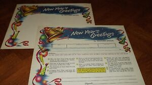Western Union Greetings Unused Form Nice Graphic good color New Years Eve LOOK