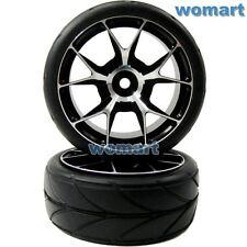 2pcs RC 1/10 Alloy Aluminum Rims Wheels & Tires for 1/10 RC On Road Touring Car