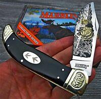 Marble's Black Smooth Bone Clasp Folding Knife w/ Turkey Wildlife Blade Etching