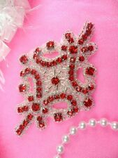 """JB115 Red Applique Crystal Rhinestone Silver Beaded 4"""" Sewing Patch Motif Crafts"""