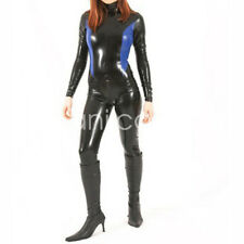 New 0.4mm 100% Rubber Latex Handsome Black with Blue Catsuit Bodysuit S-XXL